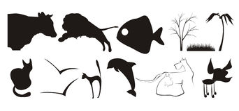 Silhouettes of animals Stock Photo