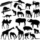 Silhouettes of animals. Many silhouettes of different animals vector illustration