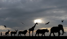Silhouettes of animals on blue cloudy sunset Royalty Free Stock Photo