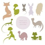 Silhouettes of animals of the forest and pond, isolated on white. Background Stock Photos