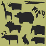 Silhouettes of animals. Zoo background with geometric silhouettes of animals Stock Image