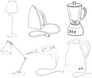 Silhouettes of appliances Royalty Free Stock Images