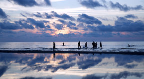 Silhouettes ashore the Baltic sea Royalty Free Stock Photography