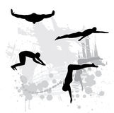 Silhouettes of atheletes. On abstract background Royalty Free Stock Images
