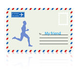 Silhouettes, athlete runs on the mail envelope. vector illustrat Royalty Free Stock Photo