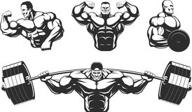 Silhouettes athletes bodybuilding Royalty Free Stock Images