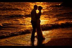 Silhouettes au coucher du soleil Photos libres de droits