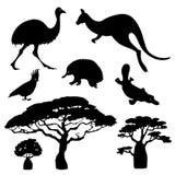 Silhouettes of Australian animals vector illustration
