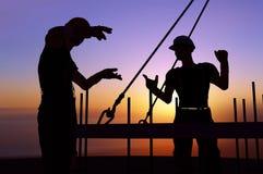 Silhouettes av arbetare stock illustrationer