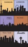 Silhouettes av berömda städer. Royaltyfri Foto