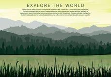 Silhouettes av berg stock illustrationer