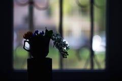 Silhouettes av blommor royaltyfri fotografi