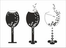 Silhouettes av exponeringsglas av wine Royaltyfri Foto