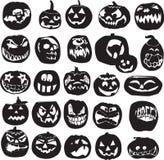 Silhouettes av Halloween pumpor Royaltyfri Fotografi