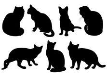 Silhouettes av katter stock illustrationer