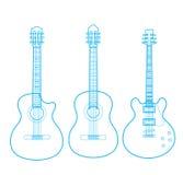 Silhouettes av klassiska gitarrer som isoleras på white, Arkivfoto