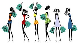 Silhouettes av kvinnor med shopping royaltyfri illustrationer