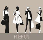 Silhouettes av modekvinnor Royaltyfri Fotografi