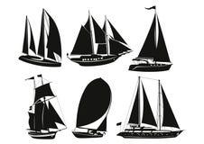 Silhouettes av ships stock illustrationer