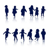 Silhouettes - baby. Silhouette girls and boys , vector illustration Stock Photo