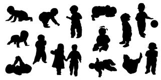 Silhouettes - baby. Silhouette girls and boys , vector illustration Stock Photography