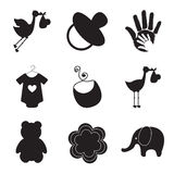 Silhouettes of baby items Royalty Free Stock Photo