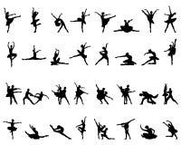Silhouettes of ballerinas. Black silhouettes of ballerinas on white background, vector stock illustration