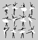 Silhouettes of ballerinas stock images