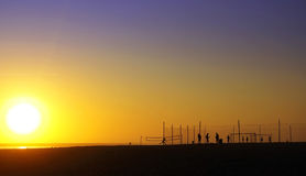 Silhouettes in beach at sunset. Stock Image