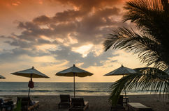 Silhouettes of beach umbrellas sunset and sky Stock Image