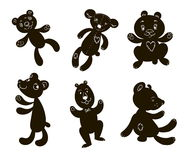 Silhouettes of bears six pieces with faces Stock Photography