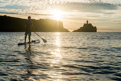 Silhouettes of beautiful couple with sup serf. Silhouettes with sup surfing and paddle on the sea of Japan Royalty Free Stock Image