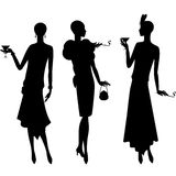 Silhouettes of beautiful girl 1920s style Stock Photos