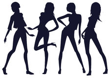 Silhouettes of beautiful girls Royalty Free Stock Photos