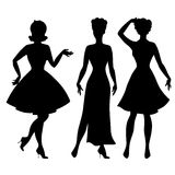 Silhouettes of beautiful pin up girls 1950s style Royalty Free Stock Photos