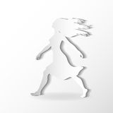 Silhouettes of beautiful walking woman on the whit Royalty Free Stock Images