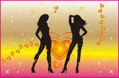 Silhouettes of beautiful women Stock Photo