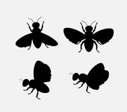 Silhouettes of Bees and Flies. Vector Illustration royalty free illustration