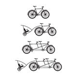 Silhouettes of bicycles and tandem-bicycles. Royalty Free Stock Image