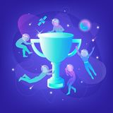 Silhouettes with big winner cup Royalty Free Stock Photography