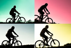 Silhouettes of biker Stock Photography