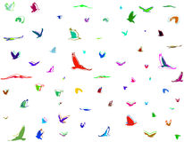Silhouettes of birds. Multicolor rainbow silhouettes of birds in cartoon retro style. Vector Stock Photography