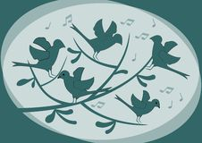 Silhouettes of birds sitting on a branch and singing, abstract illustration in dark green on light background, moody fantasy image. Vector EPS10 Stock Photos