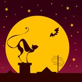 Silhouettes of black cat and bat against moon. In halloween night stock illustration