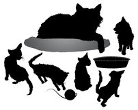 Silhouettes of black cat with five kittens, bowl and ball of yarn Royalty Free Stock Photos