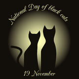 Silhouettes of black cats on a background of the moon. drawing in honor of black cats in Italy. Vector Stock Photo