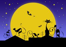 Silhouettes of black cats and bats against moon. In halloween night vector illustration