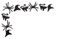Silhouettes of black cats and spiders and hats carved out of black paper are isolated on white. For Halloween festival. Halloween concept Stock Photography