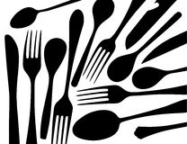 Silhouettes of black forks and spoons on white background Royalty Free Stock Photos