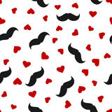 Silhouettes of black men`s mustaches and red hearts scattered on a white background. Seamless pattern. Stock Photos